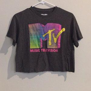 Dark gray colorful MTV crop top